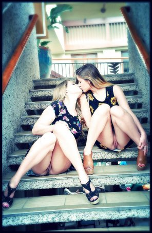 amateur photo Kissing in the stairs