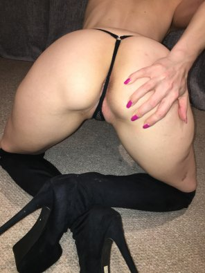 amateur photo Black Thong and Thigh High Boots x
