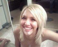 A gorgeous blonde cumselfie