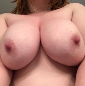 amateur photo The good morning tit pic I sent him this morning so he could jerk off. [Image]