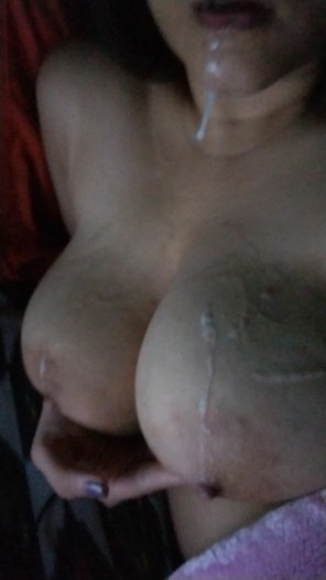 amateur photo [F] I was asked to spit on my boobies while sexting. I hope I did a good job ;)