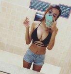 amateur photo Tight shorts and a bikini top