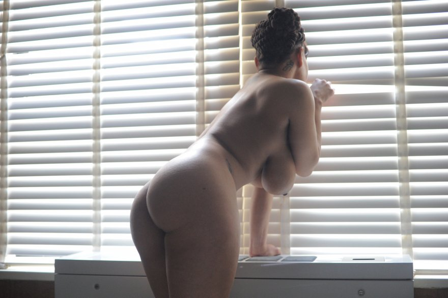 Peeking out the blinds Porn Photo