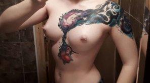 amateur photo Small boobs, big tattoo💕