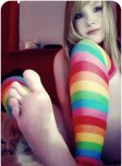 amateur photo Blonde teen with striped socks