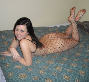 amateur photo fishnet and nothing else
