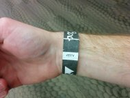amateur photo Bartender applied my wristband almost perfectly straight