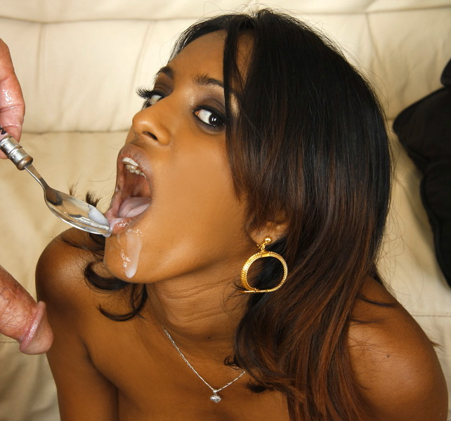Beautiful Indian Slut Eating Cum With A Spoon Porn Photo