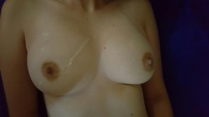 amateur photo Cum on my titties
