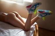 amateur photo Shoes in bed