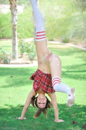 amateur photo Just doing handstands in a skirt and no underwear