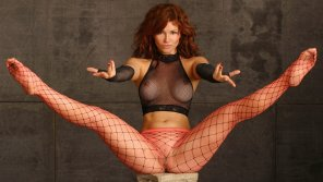 amateur photo Heather Vandeven in fishnet top, fishnet gloves, and fishnet hose.