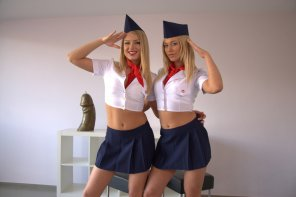 amateur photo Military or flight attendant girls