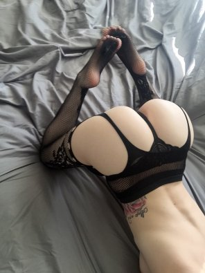 amateur photo Bent over in stockings