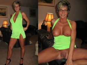 amateur photo Green dress milf