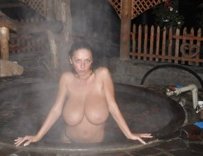 amateur photo Would you join her in the hot tub?