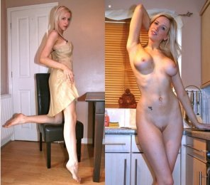 amateur photo Blonde in the kitchen