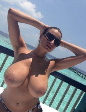amateur photo Sensual Jane with huge boobs in underwear