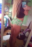 amateur photo Tiny green shorts.