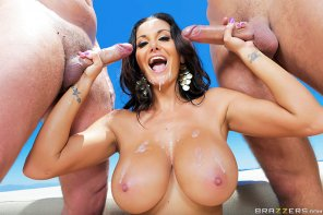 amateur photo Ava Addams with two loads on her chest