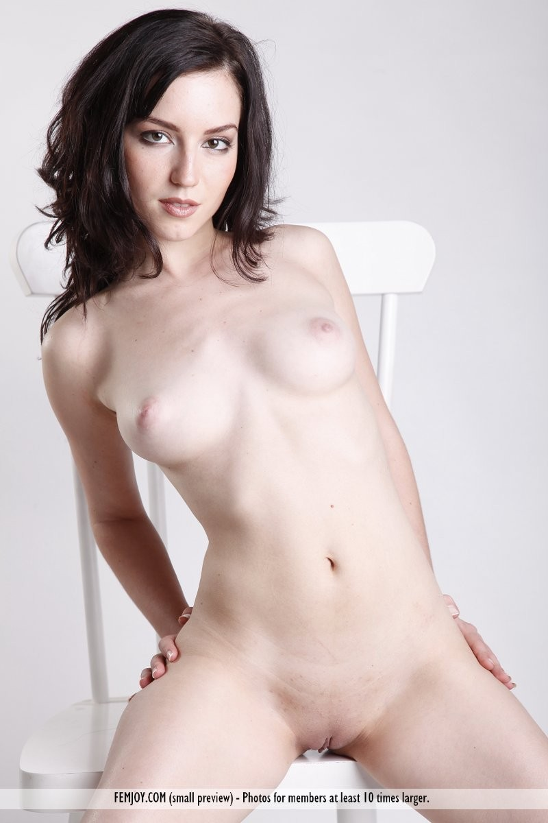 Nude pale outdoors brunette