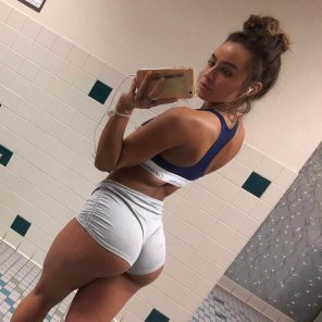amateur photo Booty Shorts at the Gym? Yes please.