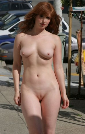amateur photo Walking down the sidewalk nude