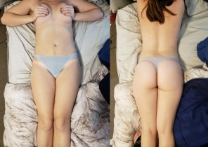 amateur photo Front and back of my new [f]loral thong <3