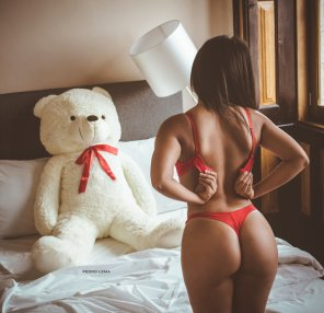 amateur photo Strip tease for a Teddy bear