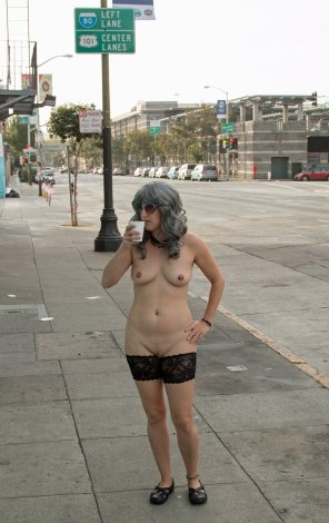 amateur photo Even SF Nudists Need a Coffee Break