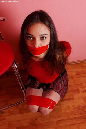 amateur photo Schoolgirl in red