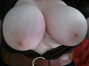 amateur photo Please enjoy my massive milky white f-cup tits