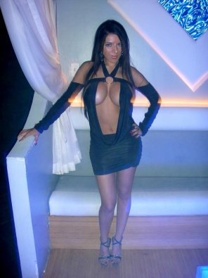 amateur photo Enormous cleavage in this black dress