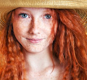 amateur photo Freckle faced, blue eyed redhead.