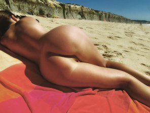 amateur photo Laying on the beach