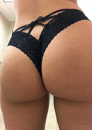 amateur photo #TOTD, Tiny black lace thong in celebration of Hump Day 😝