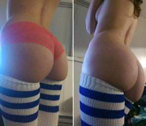 amateur photo Thigh-high socks with and without panties