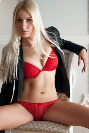 amateur photo Platinum Blonde in Red Lingerie