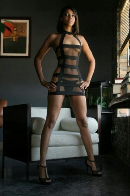 Sheer dress with straps Porn Photo