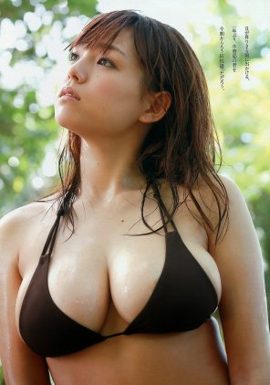 amateur photo Ai Shinozaki spilling out of her bikini top