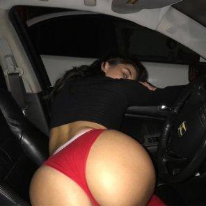 amateur photo In a car