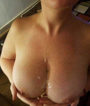 amateur photo Gf loves cum on her big tits!
