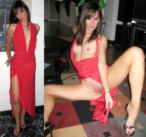 amateur photo Red dress on and almost off.