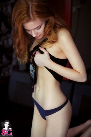 amateur photo Slender natural redhead