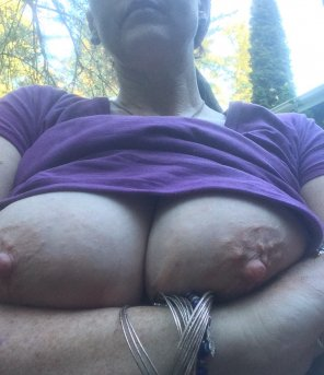 amateur photo [Image]Wifey's big titties in the front yard. She was worried the neighbors would see, I was hoping they would because my wife has the best tits in th