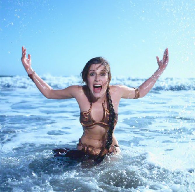 Slavegirl Leia jumping out of the ocean, with just a bit of underboob Porn Photo