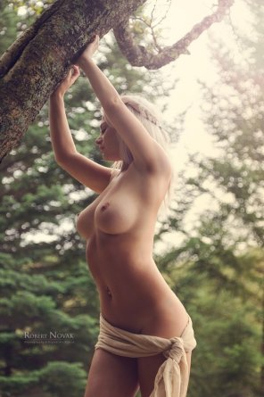 amateur photo Silver hair cutie alone in the forest
