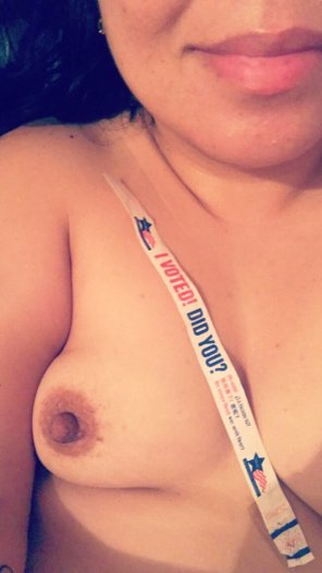amateur photo [F39] rocked the vote, my nip, and a smile 💋