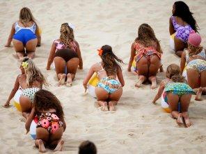 amateur photo ASSercise at beach.