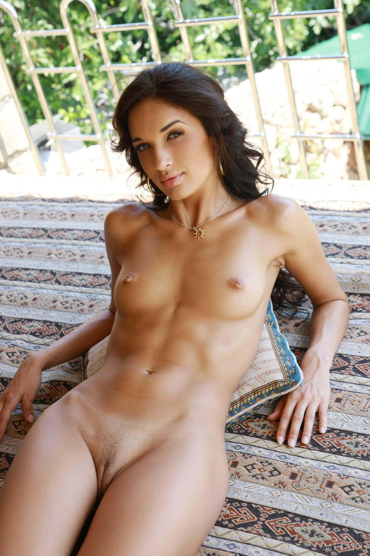 Nude latina with abs